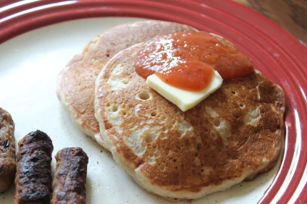 peach strawberry jam and pancakes 003