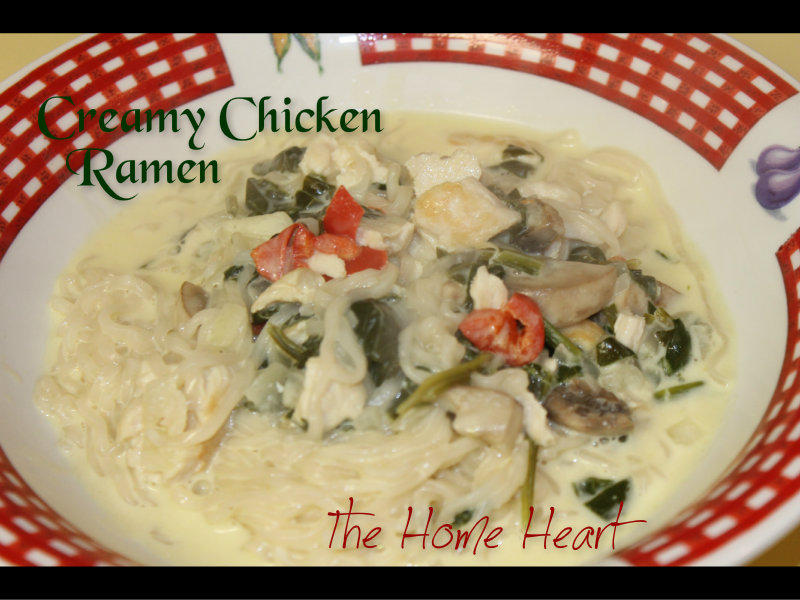 Creamy Chicken Ramen with Spinach & Mushrooms | The Home Heart