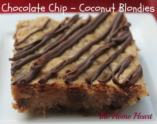Chocolate Chip Coconut Blondies
